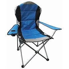 Hyfive Folding Camping Chairs Heavy Duty Luxury Padded with Cup Holder High  Back - Blue - 1 Chair: Amazon.co.uk: Garden & Outdoors